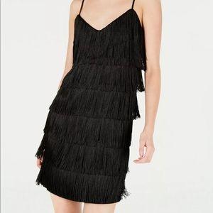 New Bar lll fringe black mini flapper dress
